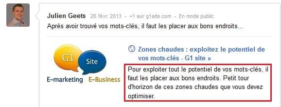 Affichage de la balise meta description dans Google+