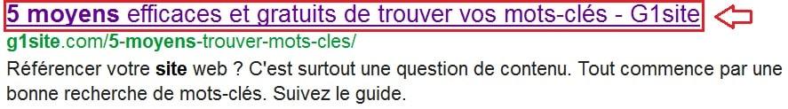 Balise title dans SERP