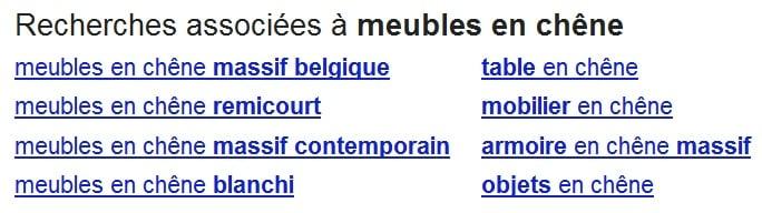 Recherches associées en bas de page des résultats Google