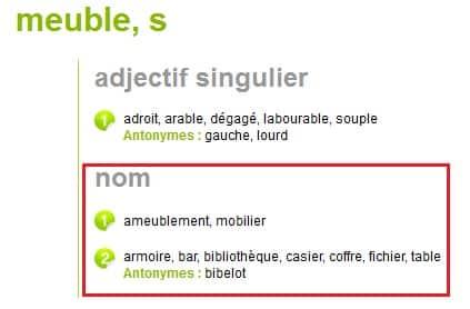 """Dictionnaire synonymes pour la requête """"meuble"""""""