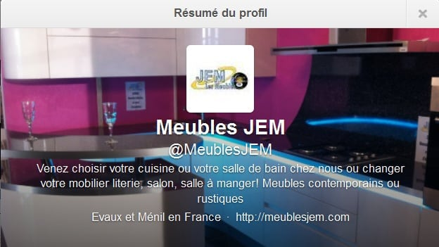 Description Twitter d'un magasin de meubles