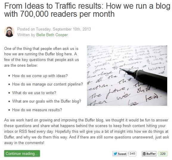 Article sur le blog de Buffer : comment gérer un blog de 700.000 lecteurs par mois