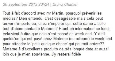Commentaire d'un client de Materne sur le web
