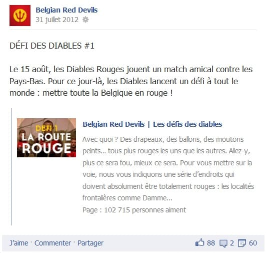 Le premier défi Facebook des Diables Rouges posté sur Facebook