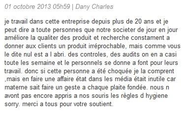 Commentaire sur le web d'un employé de Materne.