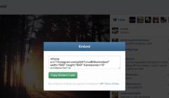 La fonction EMBED déployée sur Instagram