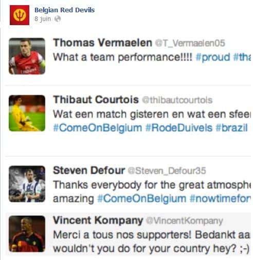 Exemples de tweets des joueurs Diables Rouges après leur victoire contre la Serbie
