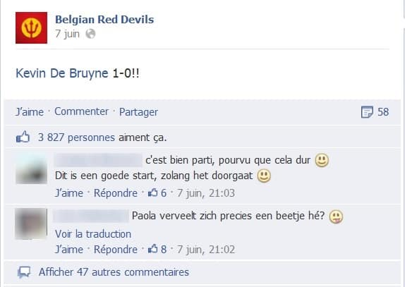 Post Facebook en direct au moment du but de Kevin Debruyne
