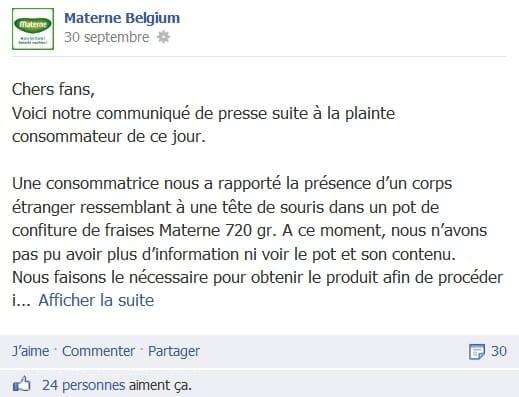 Communiqué de presse de Materne déposé sur sa page Facebook