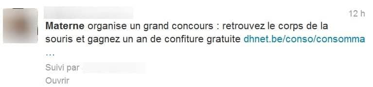 Tweet humoristique sur le cas de la souris dans le pot de confiture de fraises Materne.