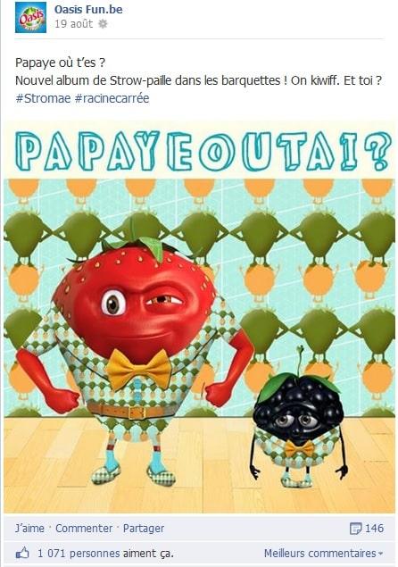 Post Facebook fun où des fruits sont déguisés en Stromae sur la page d'Oasis Belgique