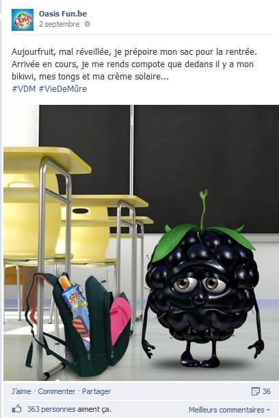Post Facebook humoristique d'Oasis pour la rentrée scolaire