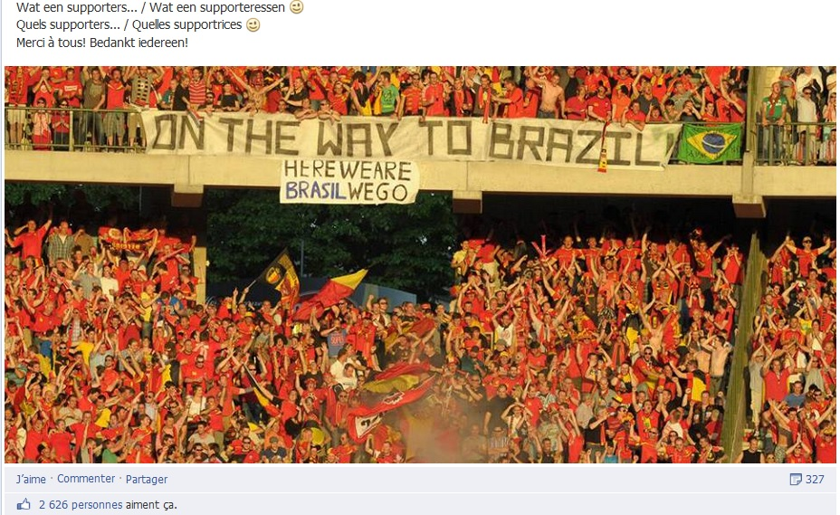 Post Facebook rendant hommage aux supporters des Diables Rouges