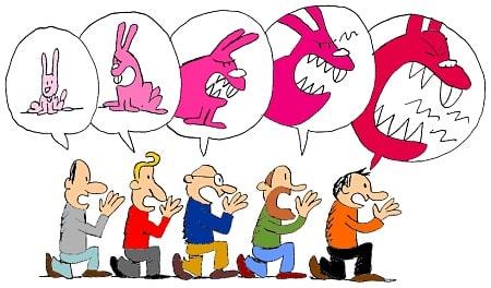 Le dessin montre des personnes se chuchotant une information à tour de rôle. L'information de base pend une ampleur importante au fil du relais