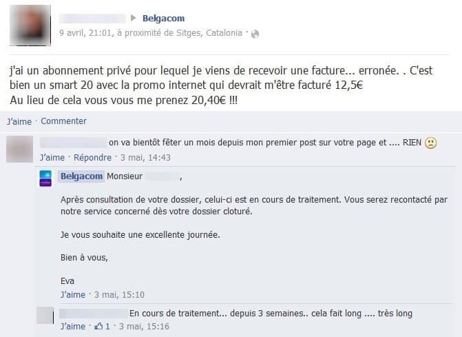 Sur la page Facebook de Belgacom, un client se plaint de l'absence de réaction et de suivi de son dossier.