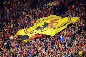 Les supporters des Diables Rouges tiennent un drapeau wallo-flamand