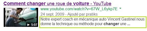 Description Youtube prend la forme d'une balise meta description