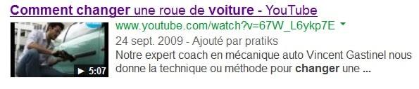 Titre de la vidéo Youtube dans les résultats de recherche Google